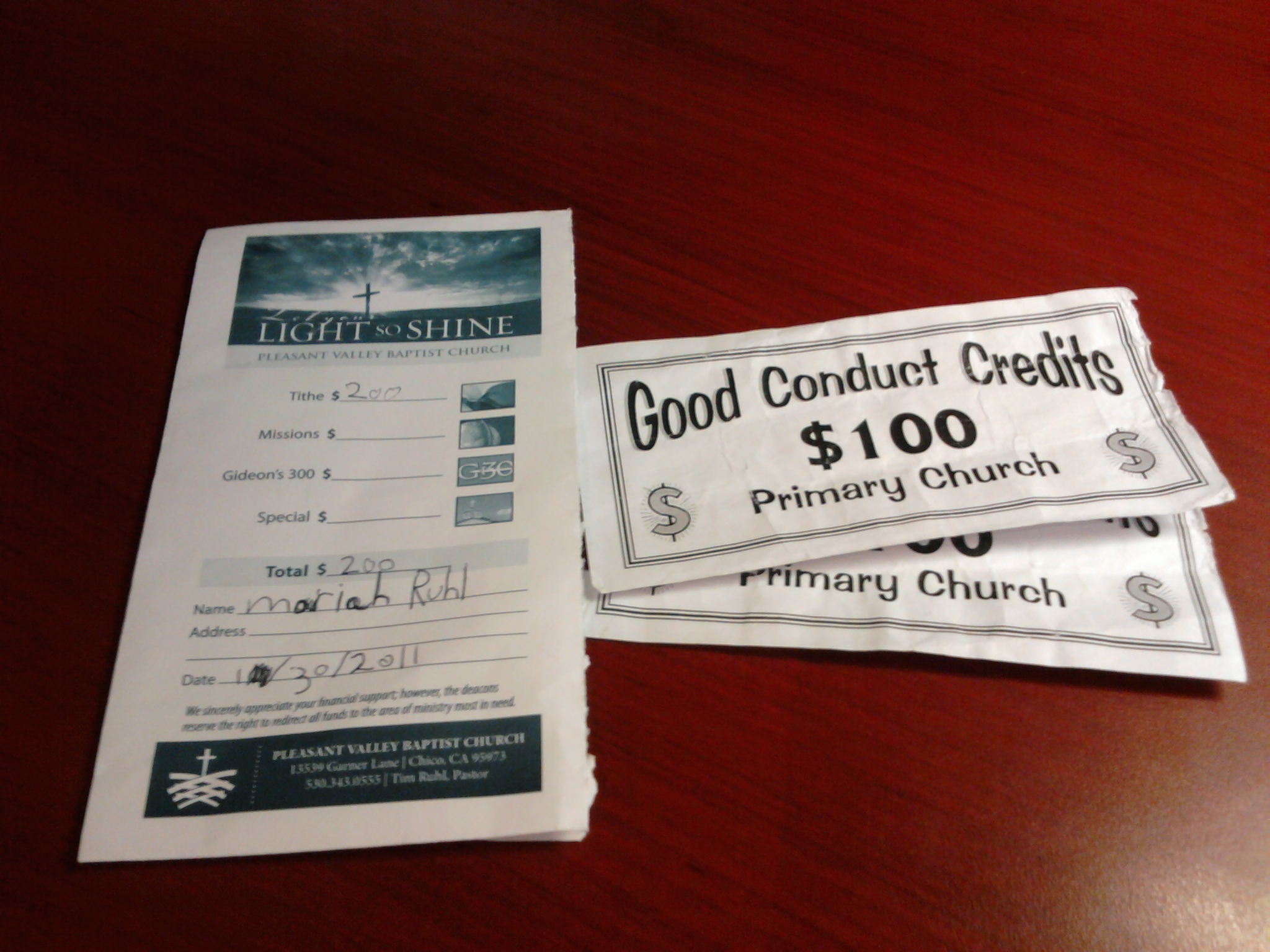 Tithing on Good Conduct Credits